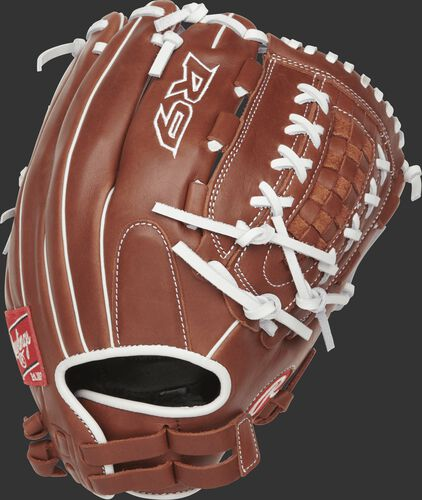 R9SB125-18DB 12.5-inch R9 softball outfield/pitcher's glove with a brown back and Pull-Strap back design
