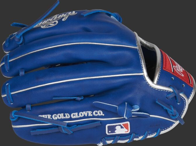 Royal back of a 11.75-inch Marcus Stroman HOH glove with the MLB logo on the pinky - SKU: PRO205-MS0