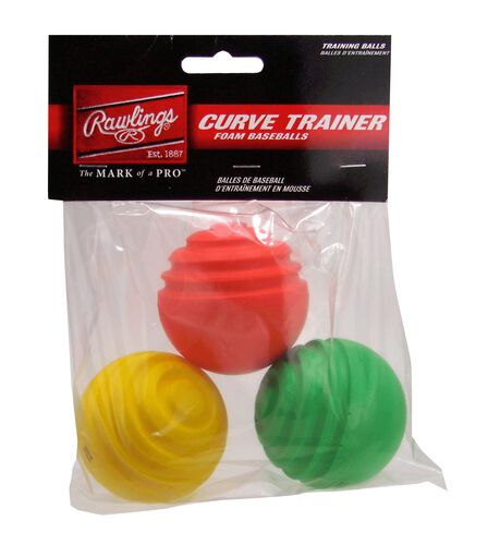 Rawlings 3-pack Curve Ball Training Balls With Green, Red, and Yellow Balls SKU #CURVETRAIN