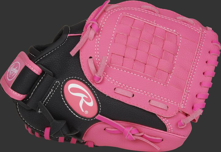 Thumb of a black Storm 10-inch fastpitch softball infield glove with a pink basket web - SKU: ACAST10BP