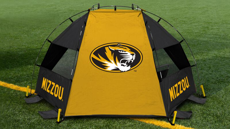 Back of a Missouri Tigers sideline sun shelter with a Tigers logo in the middle set up on a field - SKU: 00973086111
