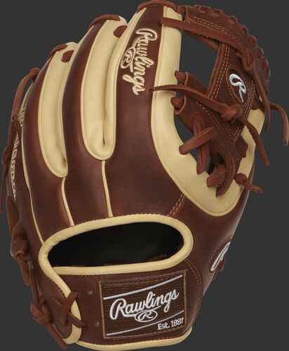 Back view of a PRO314-2CTI Heart of the Hide infield glove with timberglaze and camel finger stalls and camel double-welting