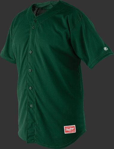 Front of Rawlings Dark Green Adult Short Sleeve Jersey  - SKU #RBJ167