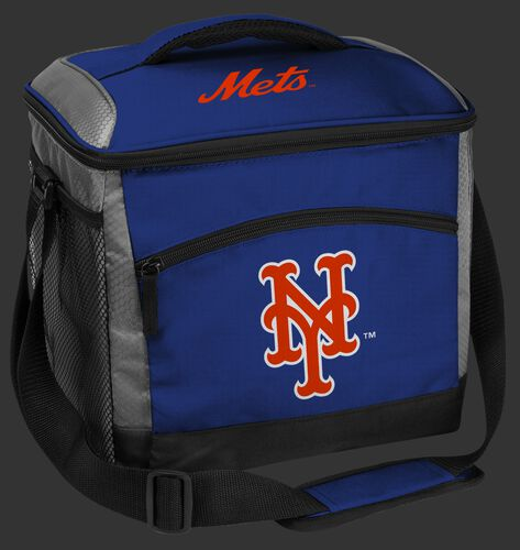 A blue New York Mets 24 can soft sided cooler with screen printed team logos - SKU: 10200017111