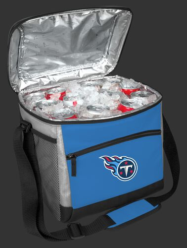 An open Tennessee Titans 24 can cooler filled with ice and drinks - SKU: 10211069111