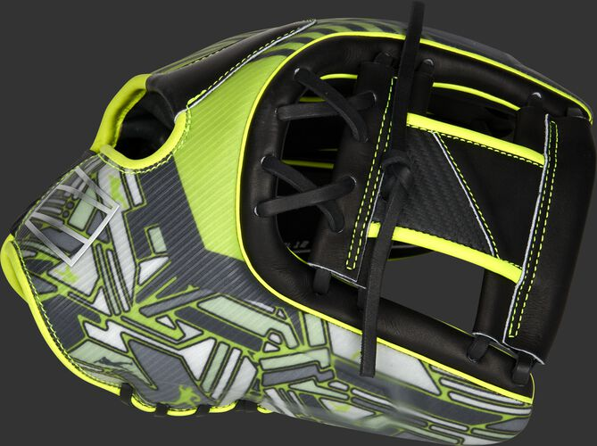 Thumb of a black/neon green 2022 REV1X 11.75-Inch infield glove with a sublimated design on the thumb and black I-web - SKU: REVFL12