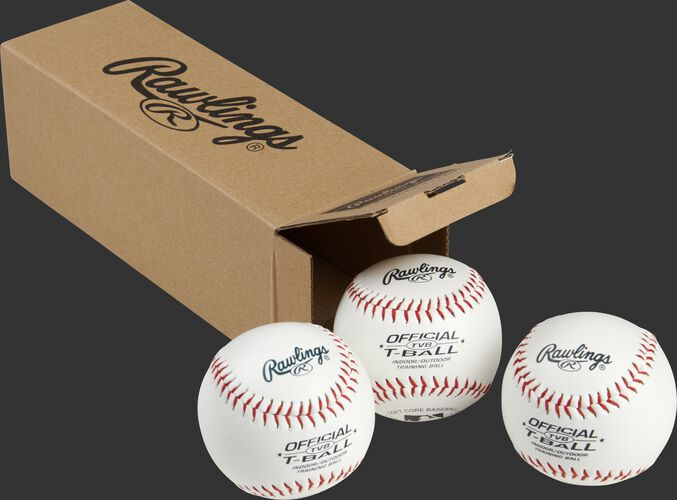 3 Rawlings practice balls in front of an open box - SKU: RSGTVBPK3