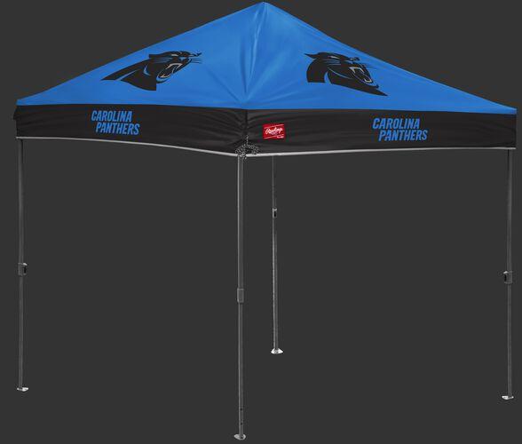A blue/black NFL Carolina Panthers 10x10 canopy with team logos on each side - SKU: 02231090111