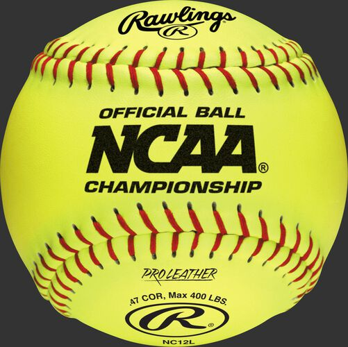 "A yellow NC12L NCAA official 12"" softball with the NCAA logo and red stitching"