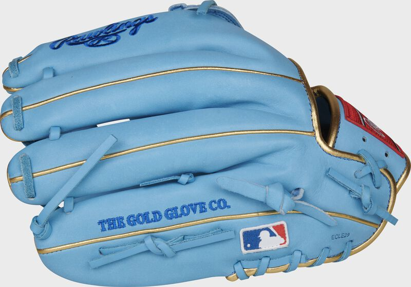 Back of a Columbia blue Rawlings Kris Bryant glove with the MLB logo on the pinky - SKU: RSGPROKB17-6CBG