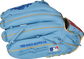 Back of a Columbia blue Rawlings Kris Bryant glove with the MLB logo on the pinky - SKU: RSGPROKB17-6CBG image number null