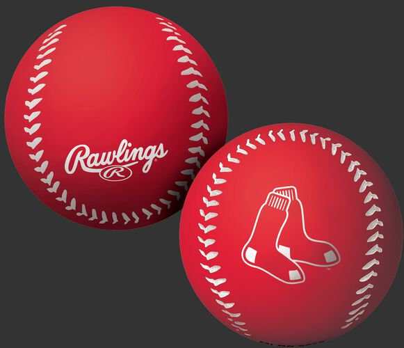 A red Boston Red Sox Big Fly rubber bounce ball