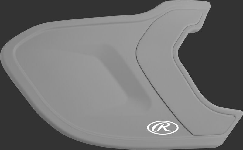 A matte silver MEXTR Mach EXT batting helmet extension for right-handed batters