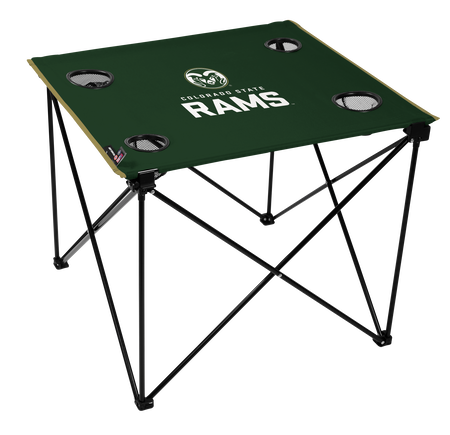 A green NCAA Colorado State Rams deluxe tailgate table with four cup holders and team logo printed in the middle
