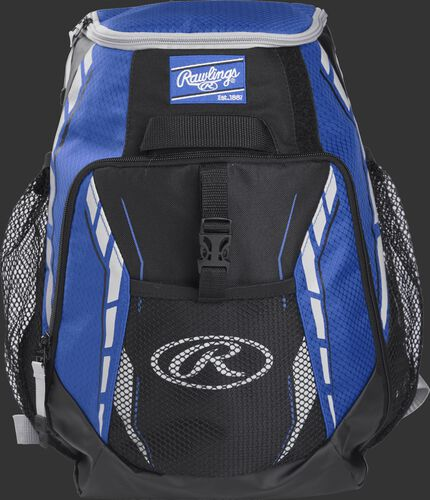 A royal R400 youth players team backpack with a gray Oval R logo on the front pocket