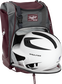 A white/black helmet in the main compartment of a maroon Rawlings Franchise backpack - SKU: FRANBP-MA image number null