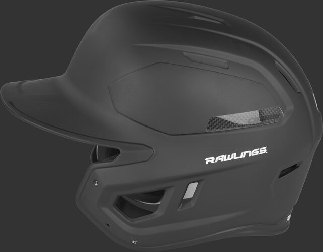Left side of a CAR07A Rawlings MACH Carbon batting helmet with a black shell and carbon fiber plate insert