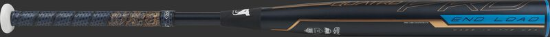 FPPE9 Rawlings end-loaded Quatro Pro fastpitch bat with a black barrel and navy/rose gold Lizard Skins grip
