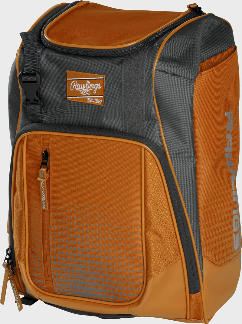 Front angle of an orange Franchise backpack with gray accents and orange Rawlings patch logo - SKU: FRANBP-O