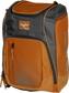 Front angle of an orange Franchise backpack with gray accents and orange Rawlings patch logo - SKU: FRANBP-O image number null