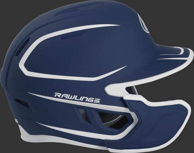 Right side of a two-tone MACHEXTR Rawlings MACH helmet with EXT extension piece for left hand batters