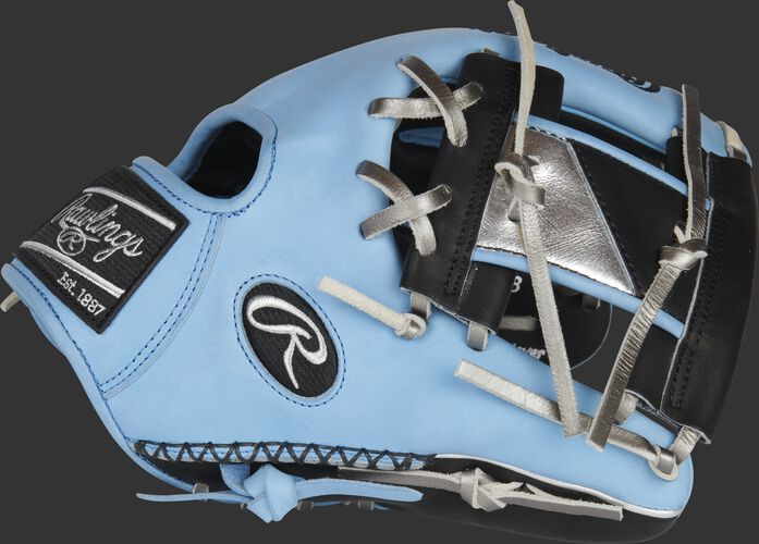 Thumb of a Columbia blue Heart of the Hide ColorSync 5.0 11.5-Inch infield glove with a black/silver I-web - SKU: PRO204-2BCB