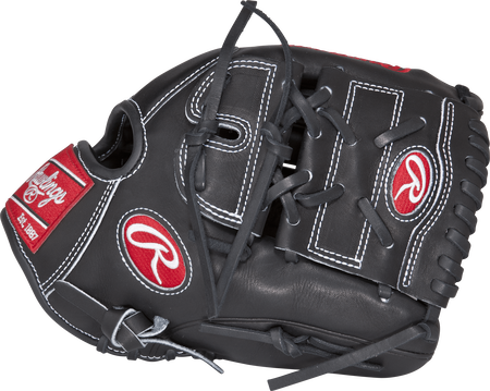 Thumb view of a PRO206-9JB Heart of the Hide 12-inch infield/pitcher's glove with a black two-piece solid web