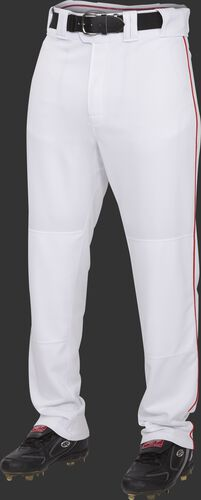 Front of Rawlings White/Scarlet Adult Semi-Relaxed Piped Pant - SKU #PRO150P-BG/DG-90