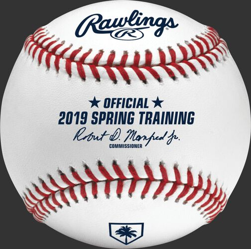 A ROMLBSTFL19 MLB 2019 Florida Spring Training baseball with the Official Ball stamp and league commissioner's signature