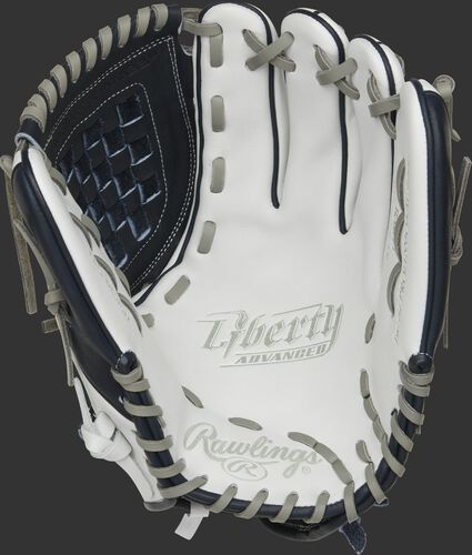 RLA120-3N Rawlings Liberty Advanced Color Series glove with a white palm, navy web and gray laces