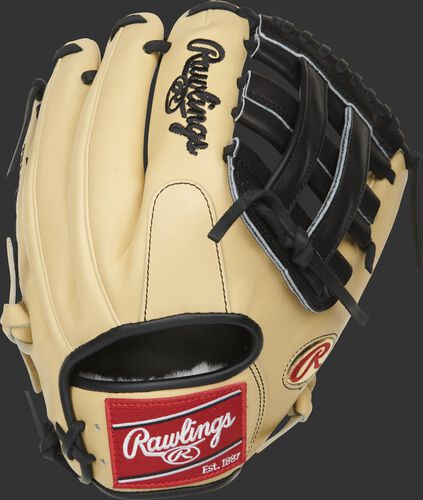 Camel back of a Brandon Crawford Pro Preferred glove with a red Rawlings patch - SKU: PROS204-BC35