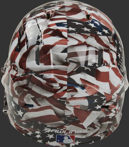 Back of a MACHEXTR-USA Rawlings Mach EXT helmet with an American flag hydro dipped design