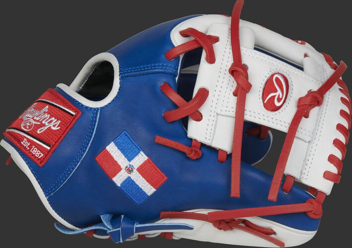 A royal/white PRO204W-2DR HOH Dominican Republic infield glove with a white I-web and DR flag on the thumb