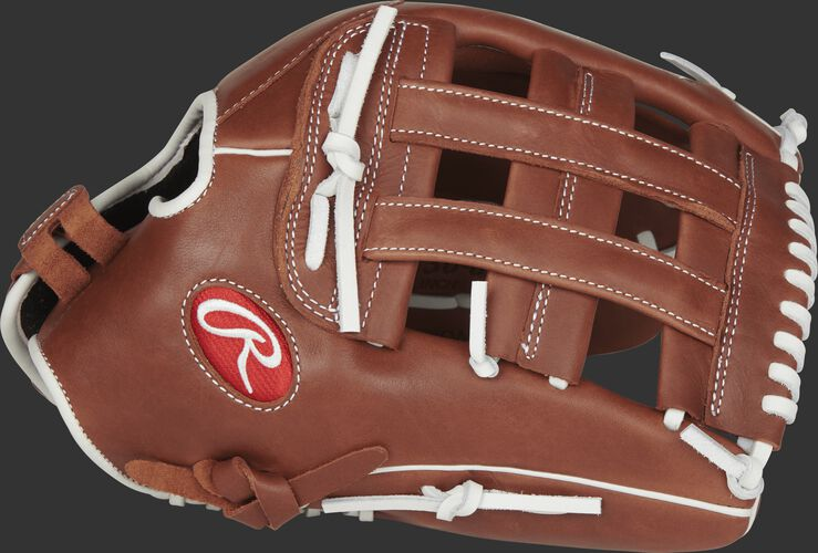 Thumb view of a brown R9SB130-6DB R9 Series 13-inch fastpitch glove with a brown H web
