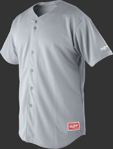 Front of Rawlings Blue Gray Adult Short Sleeve Jersey  - SKU #RJ140