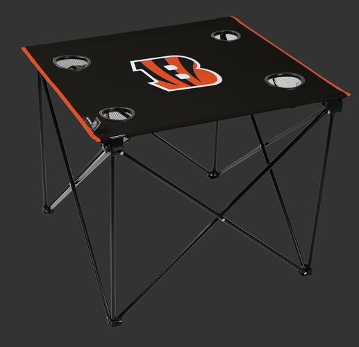 Rawlings Black NFL Cincinnati Bengals Deluxe Tailgate Table With Four Cup Holders and Team Logo Printed In the Middle SKU #00701063111