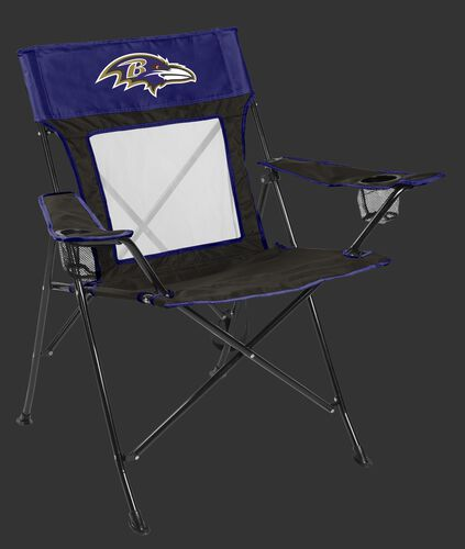 Front of Rawlings Black and Purple NFL Baltimore Ravens Game Changer Chair With Team Logo SKU #00651092111
