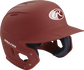 Right angle view of a matte MACH batting helmet with a cardinal shell image number null