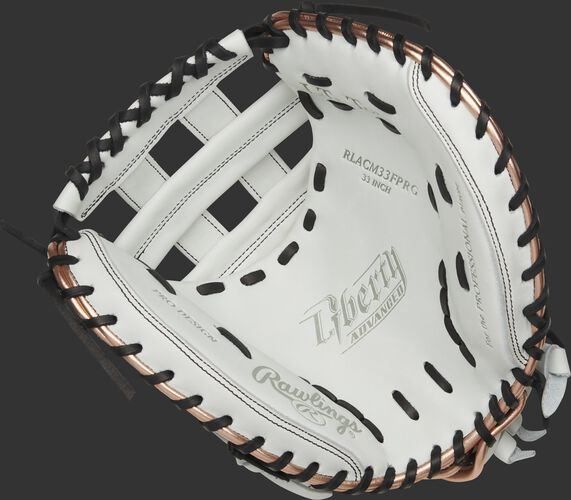 RLACM33FPRG Rawlings Liberty Advanced Color Series catcher's mitt with a white palm, white web and black laces