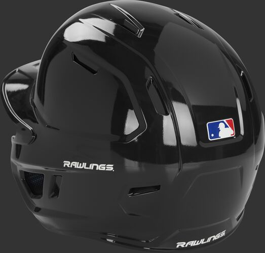 Left back of a black MCH01A Rawlings Mach batting helmet with optimized air ventilation holes
