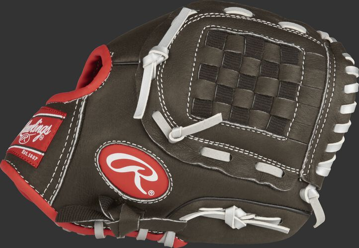 Thumb view of a dark shadow Mark of a Pro Light 9.5-inch youth infield glove with a dark shadow Basket web