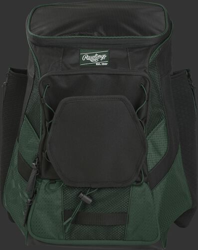 Front of a dark green/black R600 Players team backpack