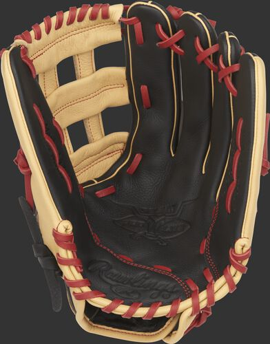 SPL120BH Rawlings Bryce Harper Select Pro Lite outfield glove with a black palm and scarlet laces