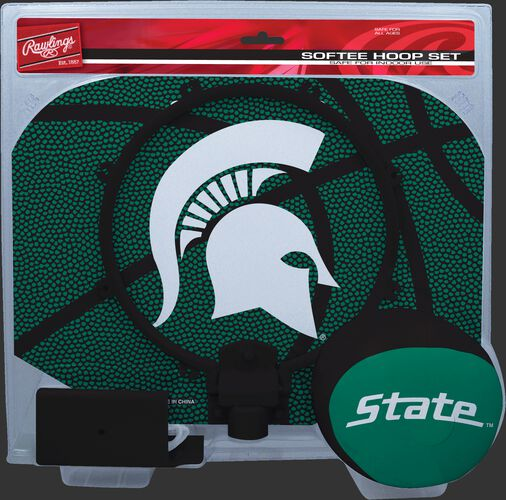 A green NCAA Michigan State Spartans hoop set with a green/black ball and team logo printed on the backboard SKU #04843038114