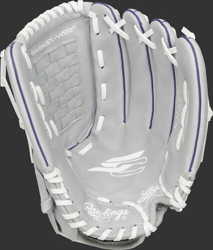 SCSB125PU Rawlings Sure Catch Softball youth glove with a grey glove and white laces