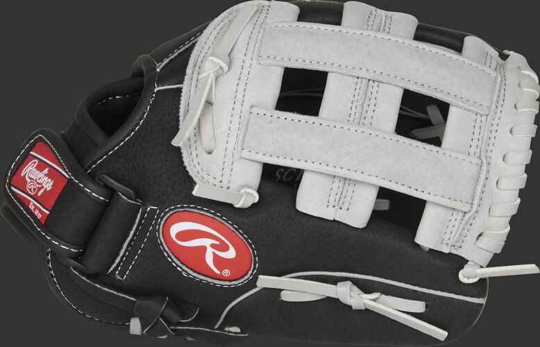 Thumb of a black SC110BGH Sure Catch 11-inch youth infield/outfield glove with a grey H web