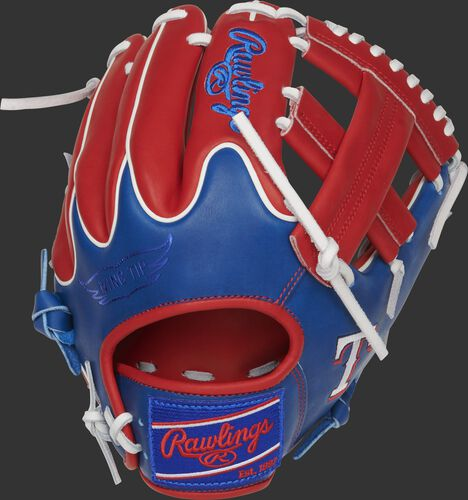 Scarlet/royal Wing Tip back of a Texas Rangers Heart of the Hide single post web glove with a royal Rawlings patch - SKU: RSGPRO204W-1TEX