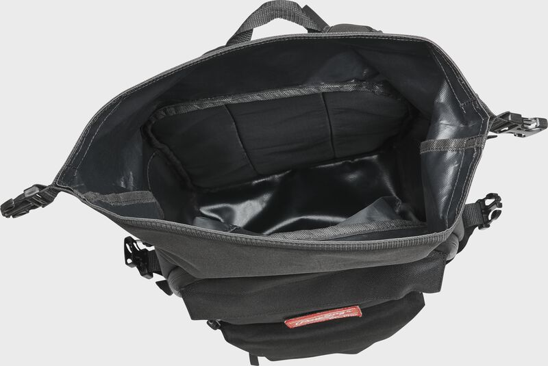 Top view of a black Rawlings CEO coach's bag with the extra storage compartment opened up - SKU: CEOBP-B