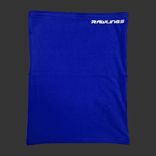 A blue Rawlings neck gaiter with a white Rawlings logo in the top right - SKU: RMSKNG-BLU
