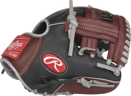 Thumb view of a black R9TR 9.5-inch Rawlings R9 infield training glove with sherry trim and a sherry single post web.